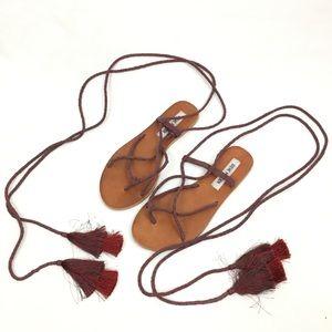 Steve Madden Jazy Tasseled Wraparound Sandals